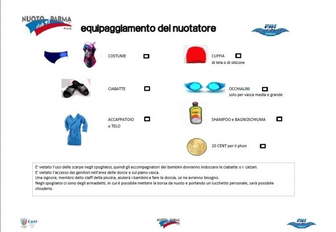 equipaggiamento del nuotatore - Nuoto Club 91 Parma