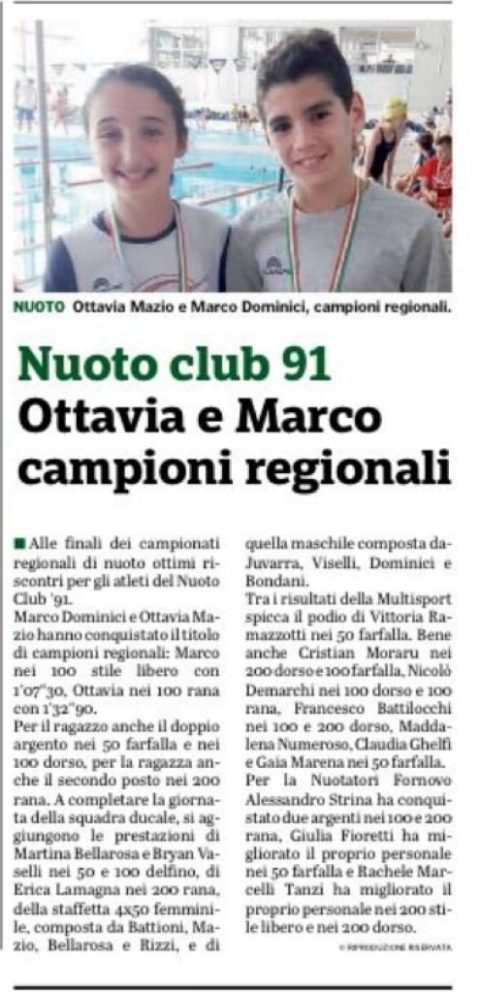 Ottavia e Marco campioni regionali FIN es. B