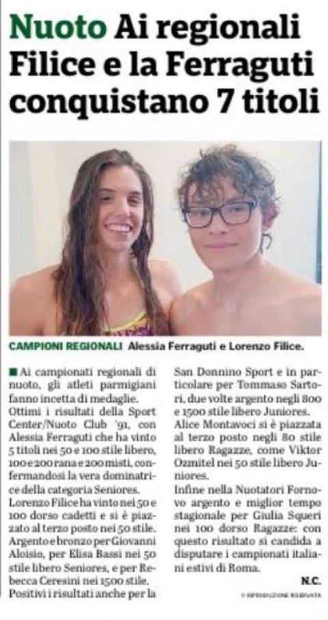 Campionati regionali vasca lunga: 7 titoli conquistati da Ferraguti e Filice
