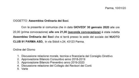 Convocazione Assemblea ordinaria dei soci (30 gennaio 2020)