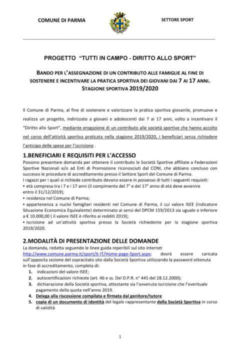Bando diritto allo sport 2019 – 20