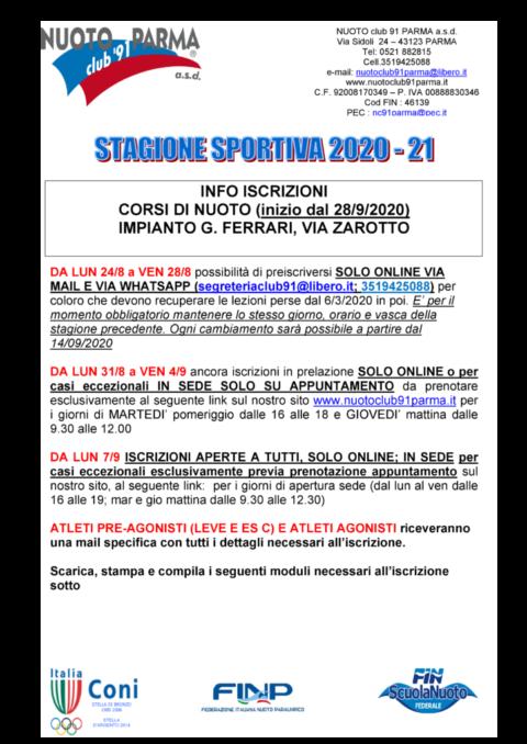 Volantino informativo stagione 2020-2021