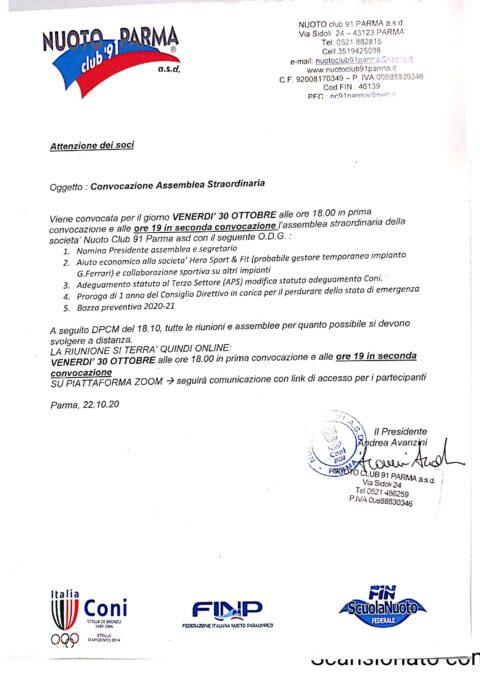 Convocazione Assemblea Straordinaria dei Soci 30/10/2020